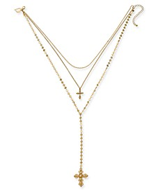 "Gold-Tone Pavé & Imitation Pearl Cross Layered Necklace, 16"" + 3"" extender, Created for Macy's"