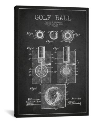 """Golf Ball Charcoal Patent Blueprint by Aged Pixel Wrapped Canvas Print - 40"""" x 26"""""""