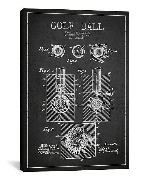 """iCanvas Golf Ball Charcoal Patent Blueprint by Aged Pixel Wrapped Canvas Print - 40"""" x 26"""""""