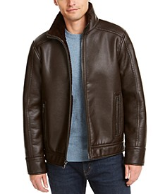 Men's Pebble Faux Leather Jacket With Faux Shearling Lining, Created for Macy's