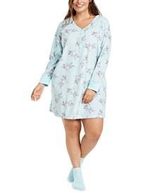 Plus Size Sleepshirt & Socks Set, Created for Macy's