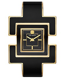 Tory Burch Women's T-Bangle Black & Gold-Tone Stainless Steel Bangle Bracelet Watch 25mm