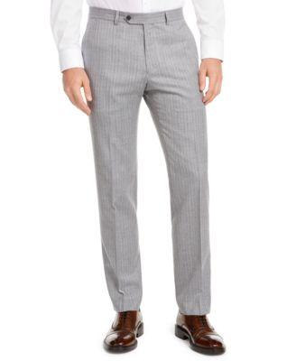 Men's Modern-Fit THFlex Stretch Gray/White Stripe Suit Separate Pants