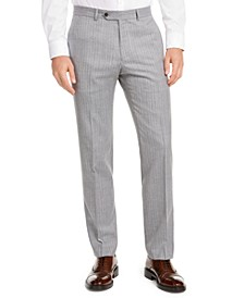 Men's Modern-Fit THFlex Stretch Gray/White Stripe Suit Separate Pants