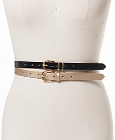 INC 2-for-1 Embossed and Metallic Belts, Created for Macy's