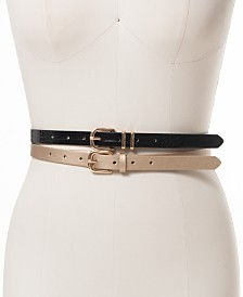 I.N.C. 2-for-1 Embossed and Metallic Belts, Created For Macy's