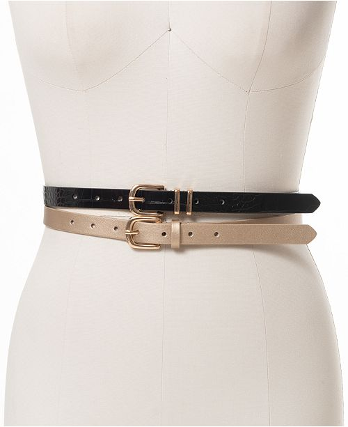 INC International Concepts INC 2-for-1 Embossed and Metallic Belts, Created For Macy's
