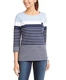 Sport Striped Button-Shoulder Top, Created for Macy's