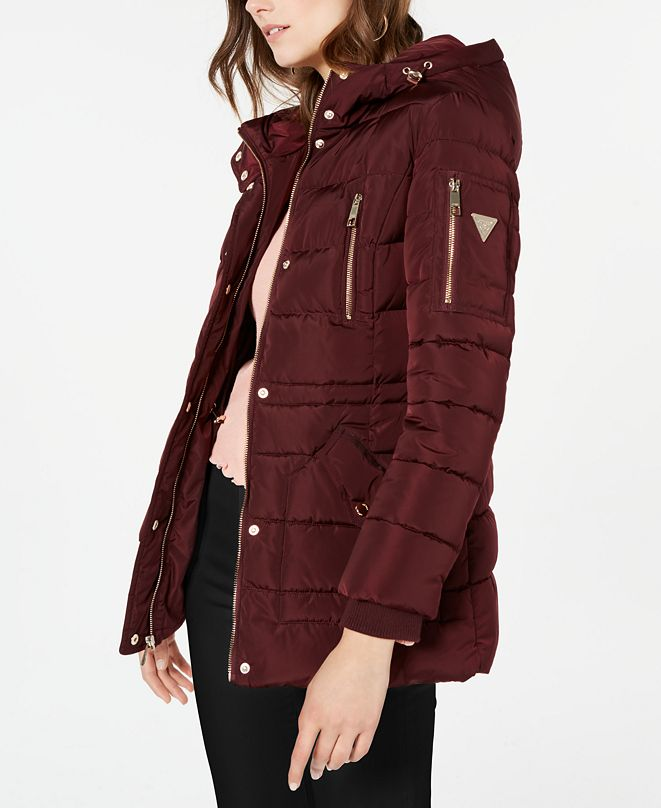 GUESS Hooded Faux-Fur-Trim Puffer Coat, Created for Macy's