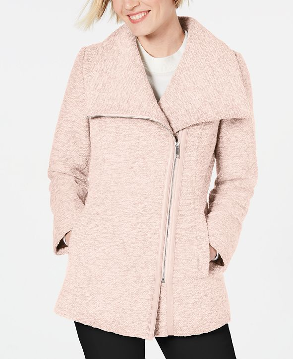 INC International Concepts INC Asymmetrical Faux-Leather-Trim Coat, Created for Macy's