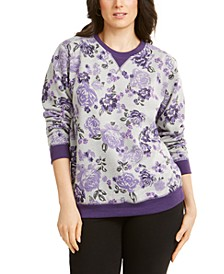 Petite Printed Crewneck Sweatshirt, Created for Macy's