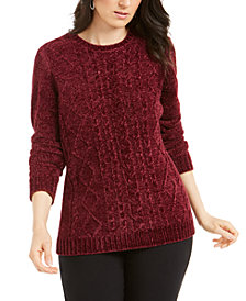 Karen Scott Petite Chenille Cable-Knit Sweater, Created For Macy's