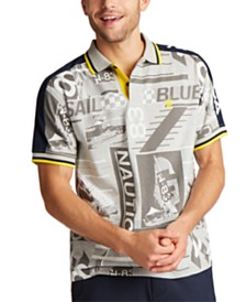 Nautica Men's Classic-Fit Blue Sail Jersey Printed Polo Shirt, Created for Macy's