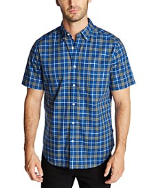 Men's Classic-Fit Blue Sail Casual Plaid Short Sleeve Shirt, Created for Macy's
