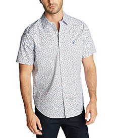 Men's Classic-Fit Blue Sail Floral Print Short Sleeve Shirt, Created for Macy's