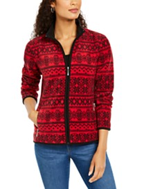 Karen Scott Printed Zeroproof Zip Jacket, Created for Macy's