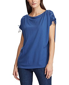 Lace-Up Short-Sleeve Top
