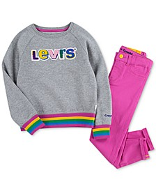 x Crayola Little Girls Skinny Jeans & Logo Sweatshirt