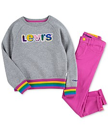 Levi's® x Crayola Little Girls Skinny Jeans & Logo Sweatshirt