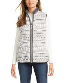 Karen Scott Fairisle-Print Sherpa-Trim Vest, Created for Macy's