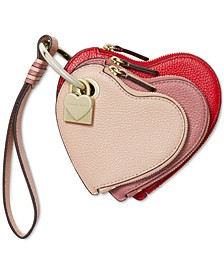 Leather Heart Pouch Trio Charm
