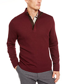 Tasso Elba Men's Supima Cotton Textured 1/4-Zip Sweater, Created For Macy's