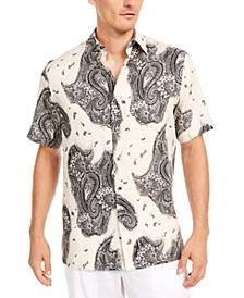 Men's Paisley-Print Linen Shirt, Created for Macy's