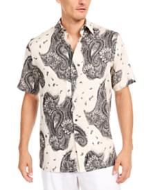 Tasso Elba Men's Paisley-Print Linen Shirt, Created for Macy's