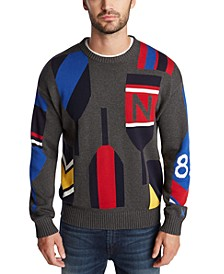 Men's Blue Sail Classic-Fit Paddle Graphic Sweater, Created for Macy's