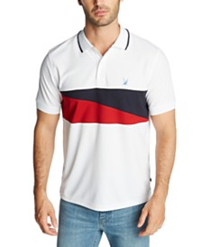 Nautica Men's Blue Sail Classic-Fit Diagonal Flag Polo Shirt, Created for Macy's
