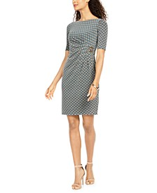 Petite Printed Embellished Sheath Dress