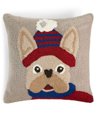 "Hooked Dog 18"" x 18"" Decorative Pillow, Created for Macy's"