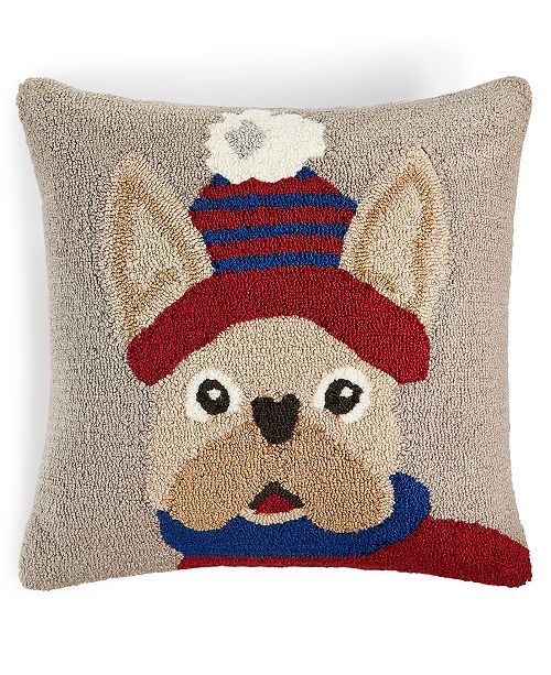 """Martha Stewart Collection Hooked Dog 18"""" x 18"""" Decorative Pillow, Created for Macy's"""