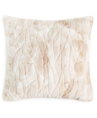 "Textured Faux Fur 20"" x 20"" Decorative Pillow, Created For Macy's"