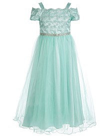Big Girls Embroidered Mesh Cold-Shoulder Gown