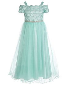 Bonnie Jean Big Girls Embroidered Mesh Cold-Shoulder Gown