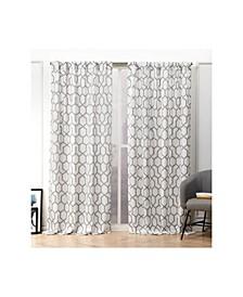 """Hexa Geometric Print Hidden Tab Top Curtain Panel Pair, 54"""" X 96"""""""