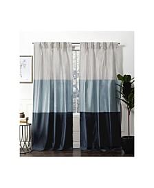 Exclusive Home Curtains Chateau Striped Faux Silk Pinch Pleat Curtain Panel Pair