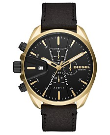 Diesel Men's Chronograph MS9 Black Leather Strap Watch 48mm