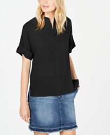 Michael Michael Kors Monogram Roll-Tab Shirt, Regular & Petite Sizes