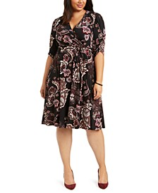 Plus Size Ruched-Sleeve Faux-Wrap Midi Dress