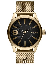 Diesel Men's Rasp NSBB Gold-Tone Stainless Steel Mesh Bracelet Watch 46mm