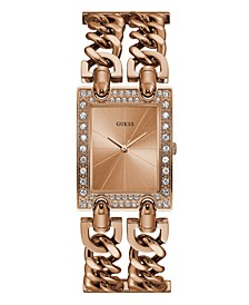 Women's Rose Gold-Tone Crystal Multi-Chain Bracelet Watch with Adjustable Links 37mm