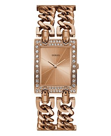 GUESS Women's Rose Gold-Tone Crystal Multi-Chain Bracelet Watch with Adjustable Links 37mm