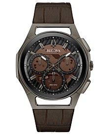 Men's Chronograph Curv Progressive Sport Brown Leather Strap Watch 44mm