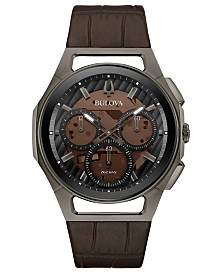 Bulova Men's Chronograph Curv Progressive Sport Brown Leather Strap Watch 44mm
