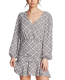 Plaid Ruched Ruffle Dress