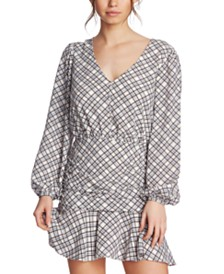 1.STATE Juniors' Plaid Ruched Ruffle Dress