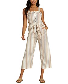 Juniors' Sandy Toes Cropped Jumpsuit