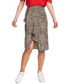 1.STATE Ruffled Leopard-Print Skirt